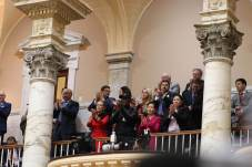 Gov. Lawrence J. Hogan Jr.'s family and invited guests applaud during his State of the State address on Wednesday. Photo by Danielle. E. Gaines.