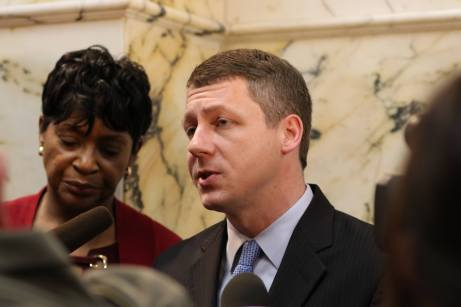 House Majority Leader Eric G. Luedtke (D-Montgomery) and House Speaker Adrienne A. Jones (D-Baltimore County) take questions from the press after listening to Republican Gov. Lawrence J. Hogan Jr.'s State of the State address on Wednesday. Photo by Danielle E. Gaines.