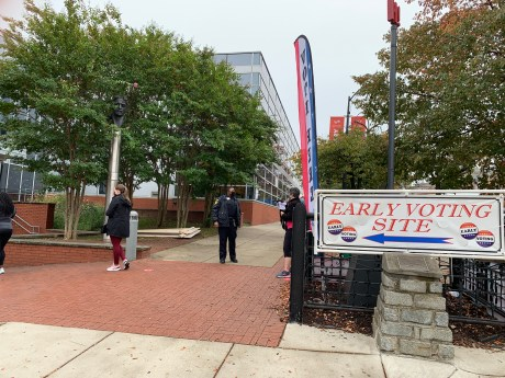 Early voting center in East Baltimore, Southeast Anchor Branch Library. Photo by Elizabeth Shwe.
