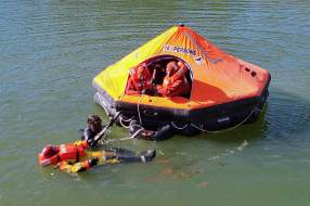 Trainees at the Arcon Training Center participate in a lesson sea survival. Photo courtesy of Arcon Training Center.