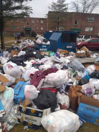 Tenants at the Bedford Station and Victoria Station apartment complexes said in a federal lawsuit that trash perpetually blocks parking lots and basement access areas, leading to rat and rodent infestations. Photo courtesy of CASA.