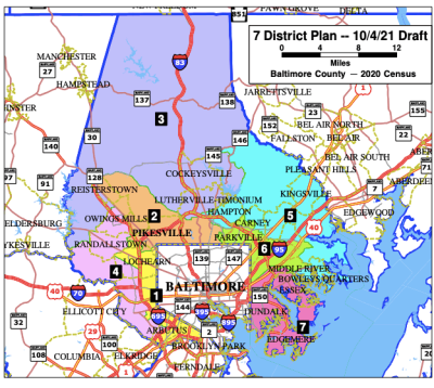 An alternative plan for Baltimore County Council districts from the ACLU of Maryland and Baltimore County NAACP includes two majority Black districts. Provided by ACLU of Maryland.
