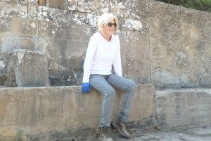 Helping friends clear an old fountain near Psari, Greece