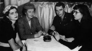 Mary Ellen, Frankie, Philip, and Frannie Walsh at the Stork Club, NYC, c. 1942