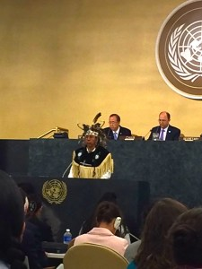 Todadaho Sid Hill, Traditional Chief of the Onondaga Nation, delivering ceremonial welcome to UN Permanent Forum on Indigenous Issues