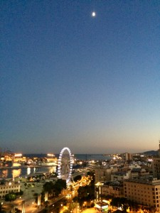 Port of Malaga by moonlight