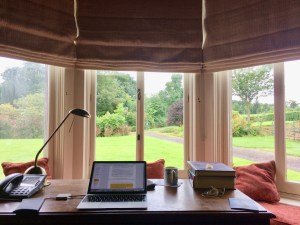My desk in Tyrone Guthrie's Study, one of the best rooms in the house!