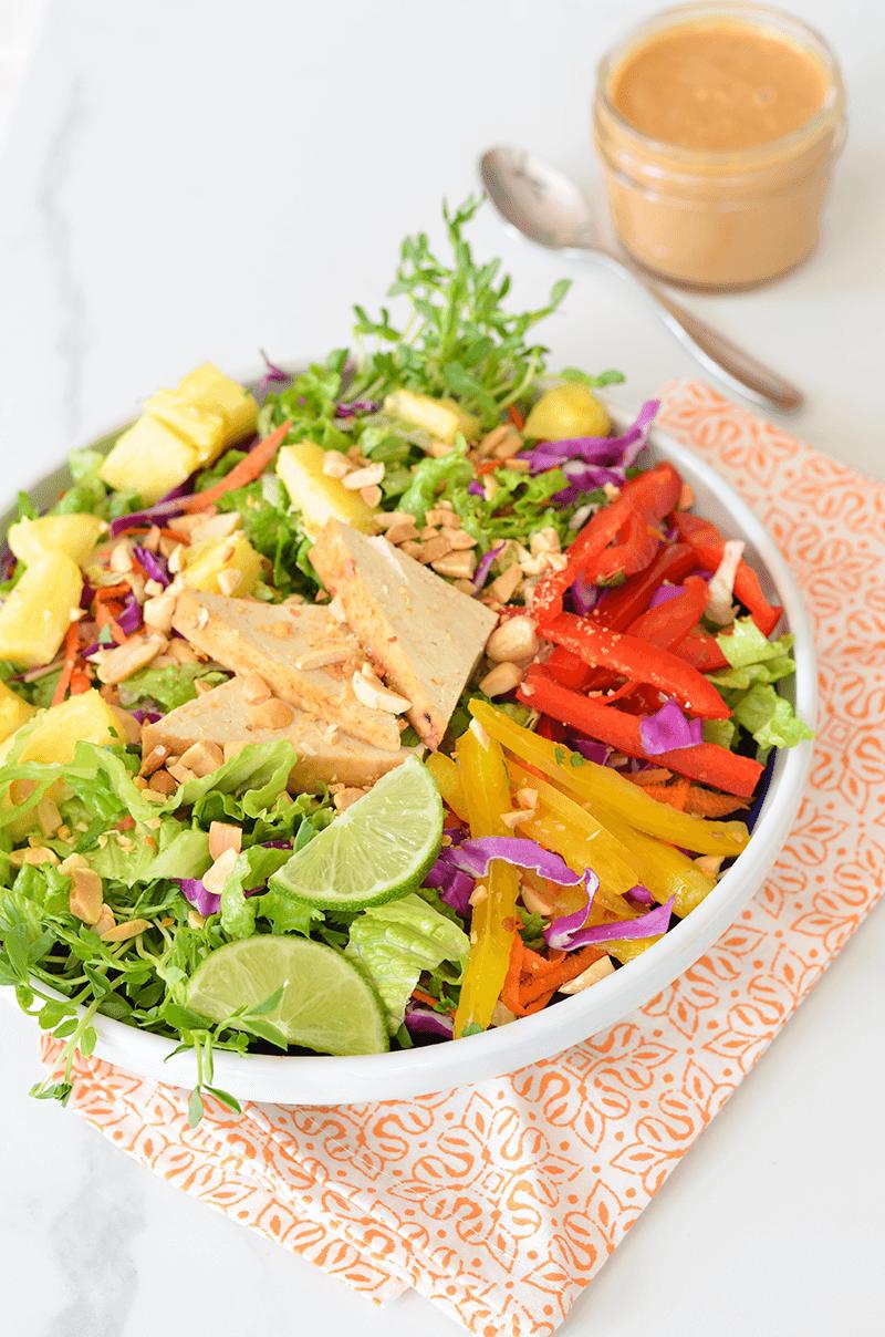 Crunchy Chopped Salad with Lemongrass Tofu & Peanut Dressing - Recipe