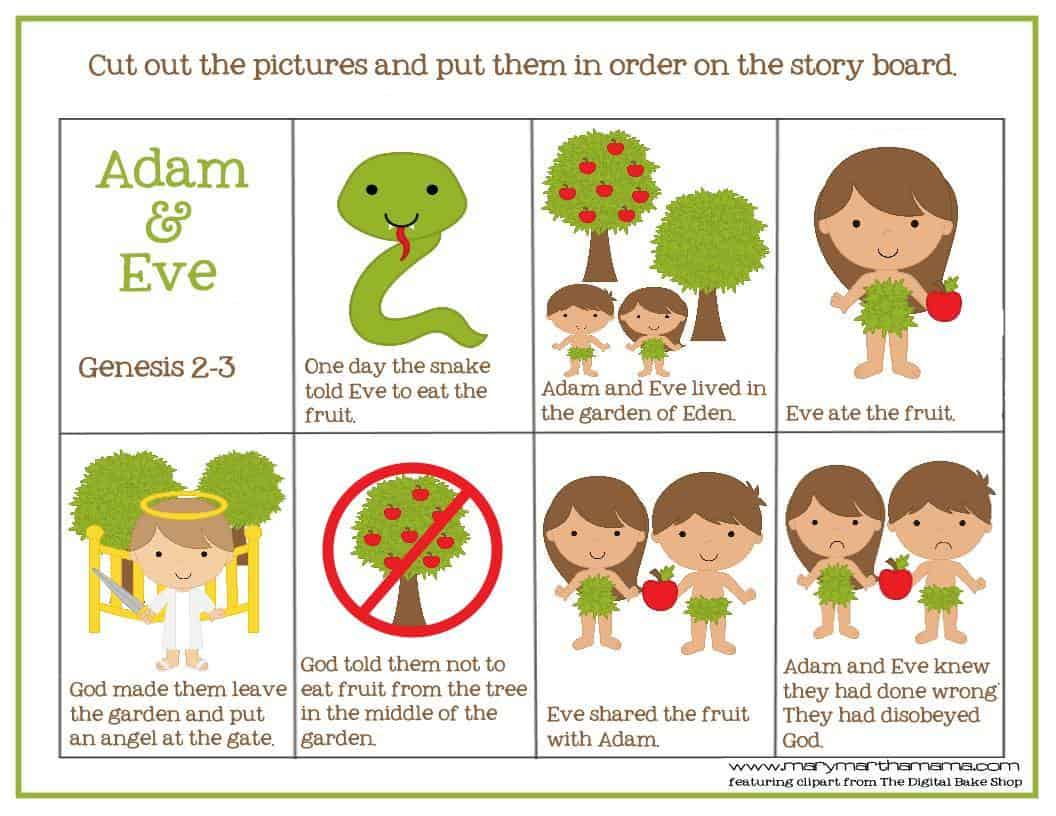 Adam And Eve Story For Kids Free Printable Activities