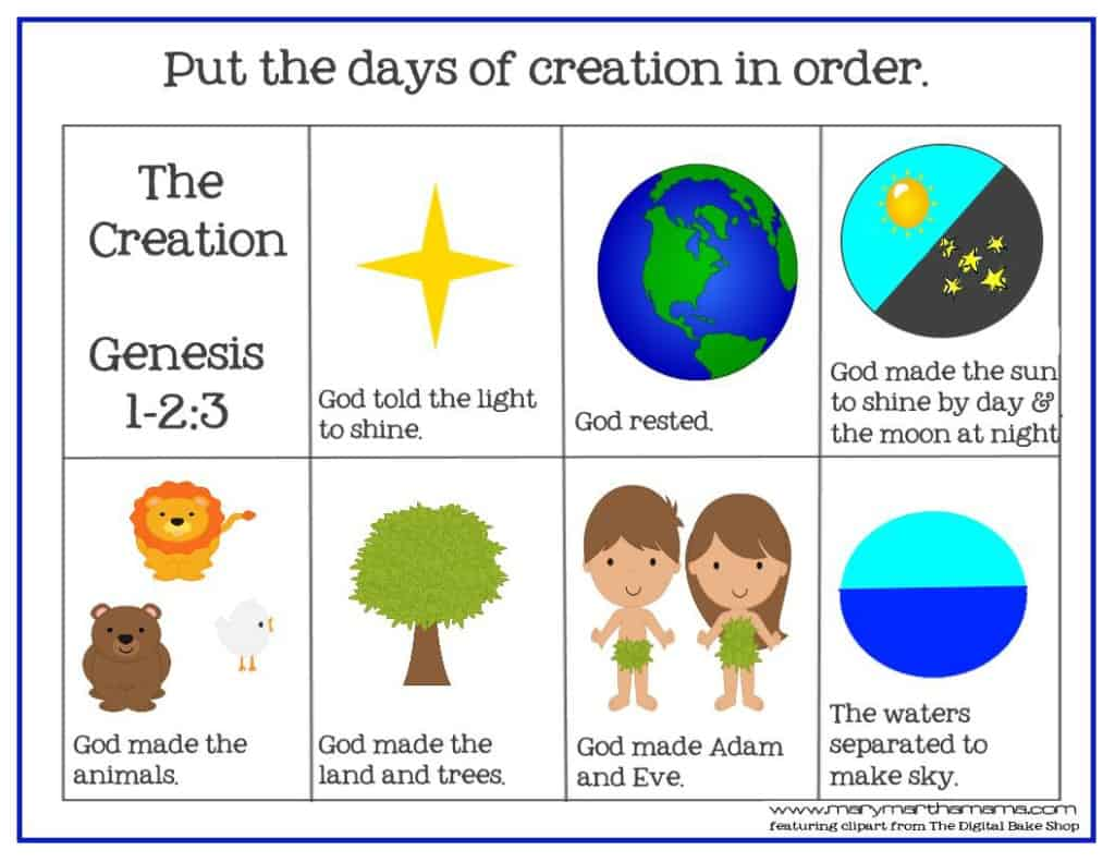 Creation Bible Story For Preschoolers Activity Pack Mary Martha Mama