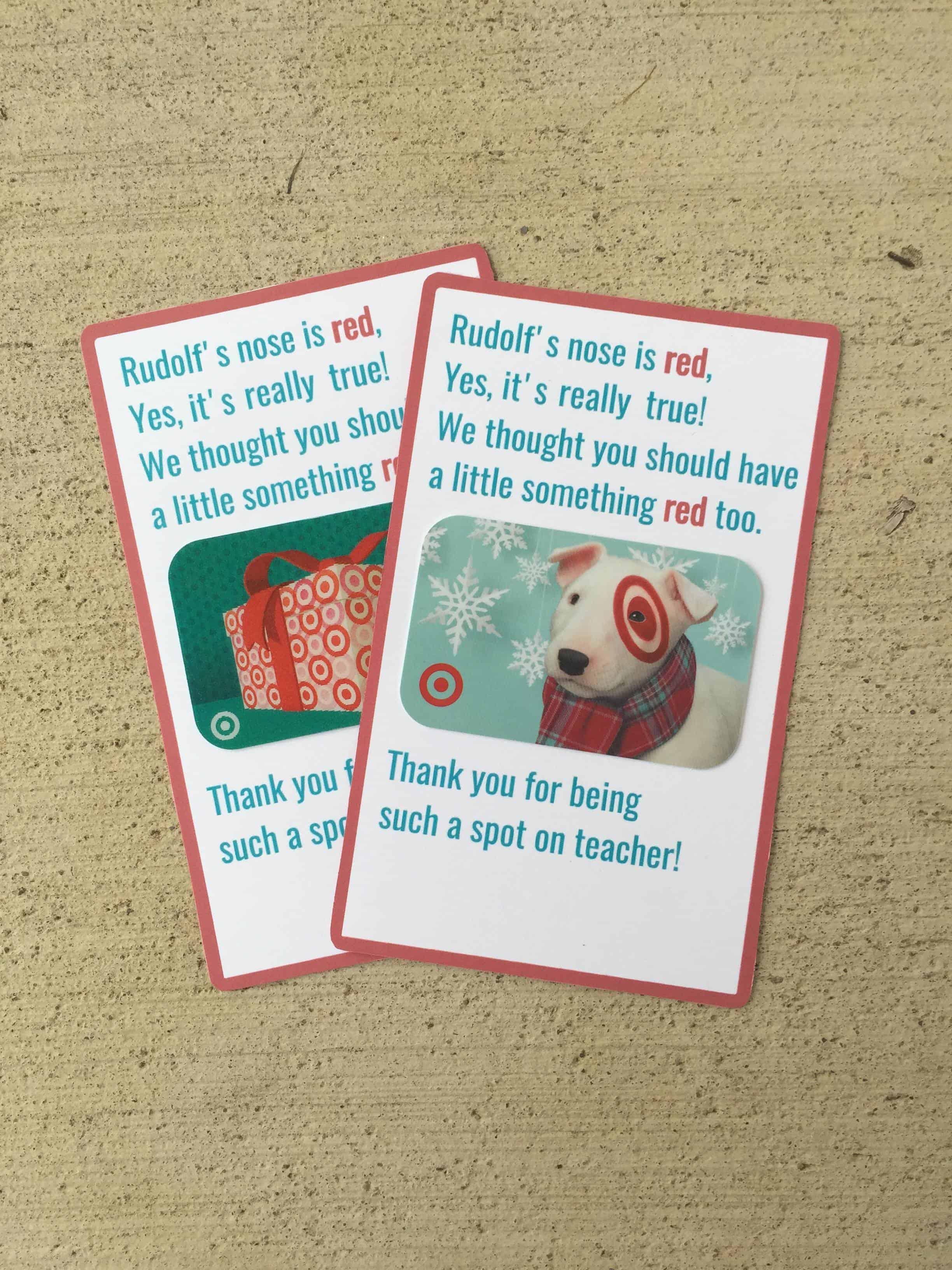 Teacher christmas gift card amount