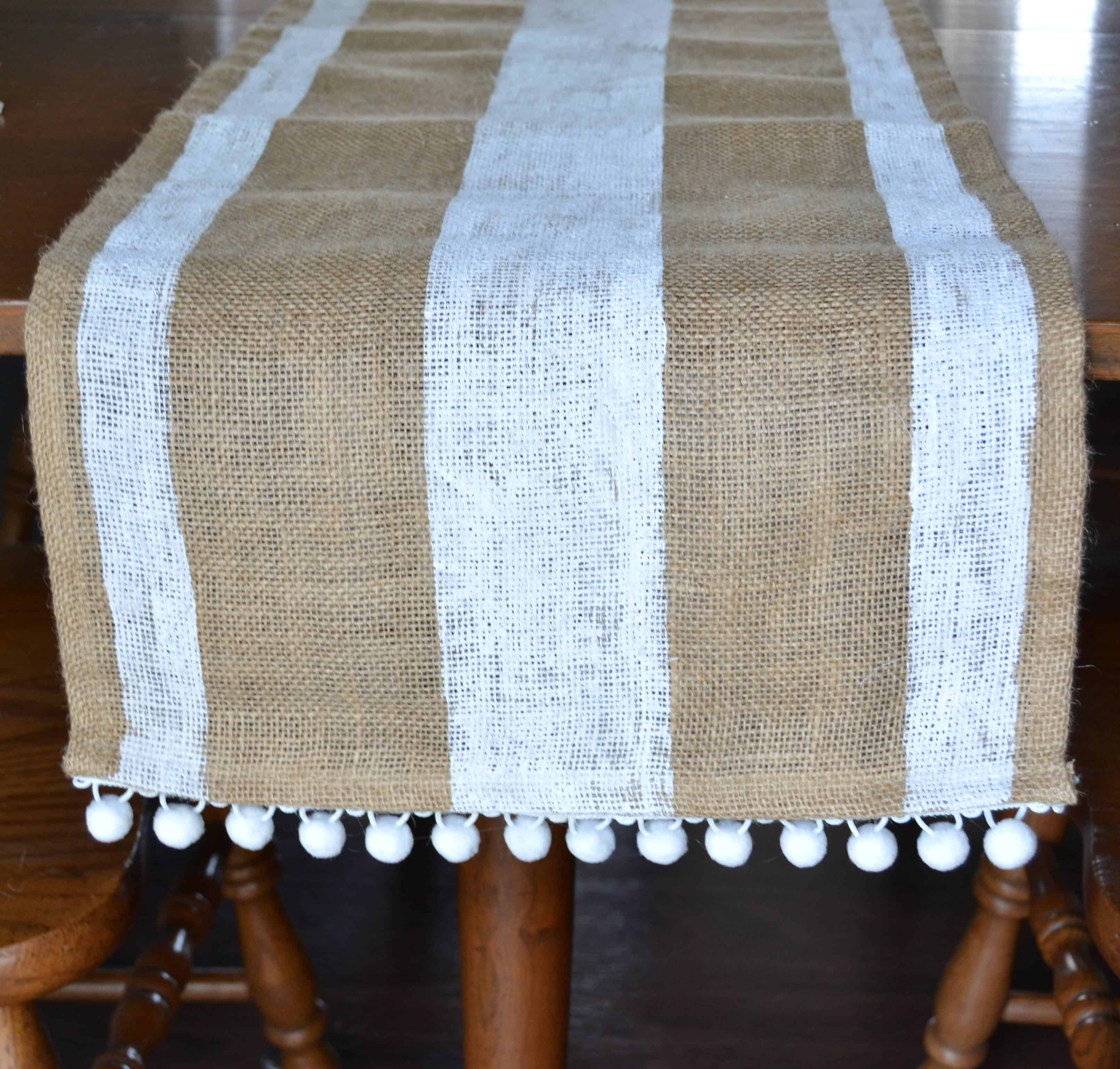 Striped Burlap Table Runner with Pom Poms  Mary Martha