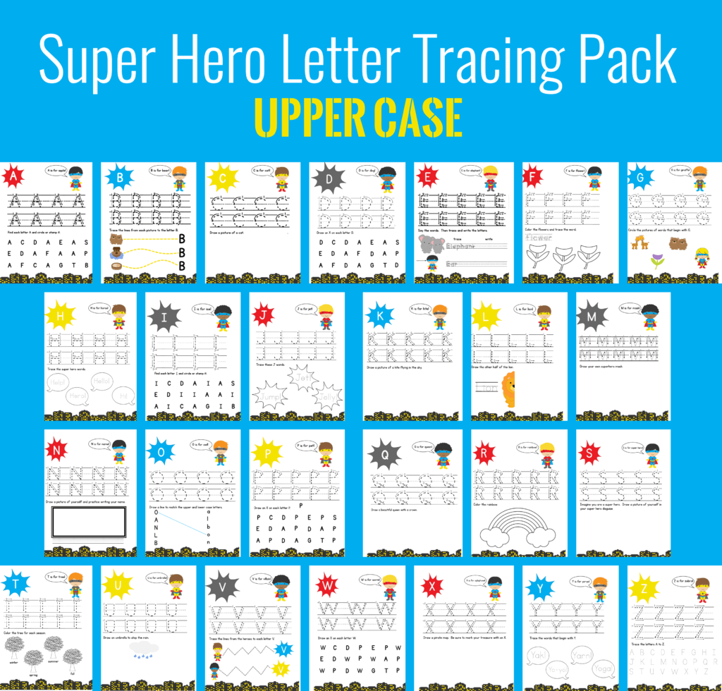 Super Hero Letter Tracing Pack Upper Case Mary Martha Mama