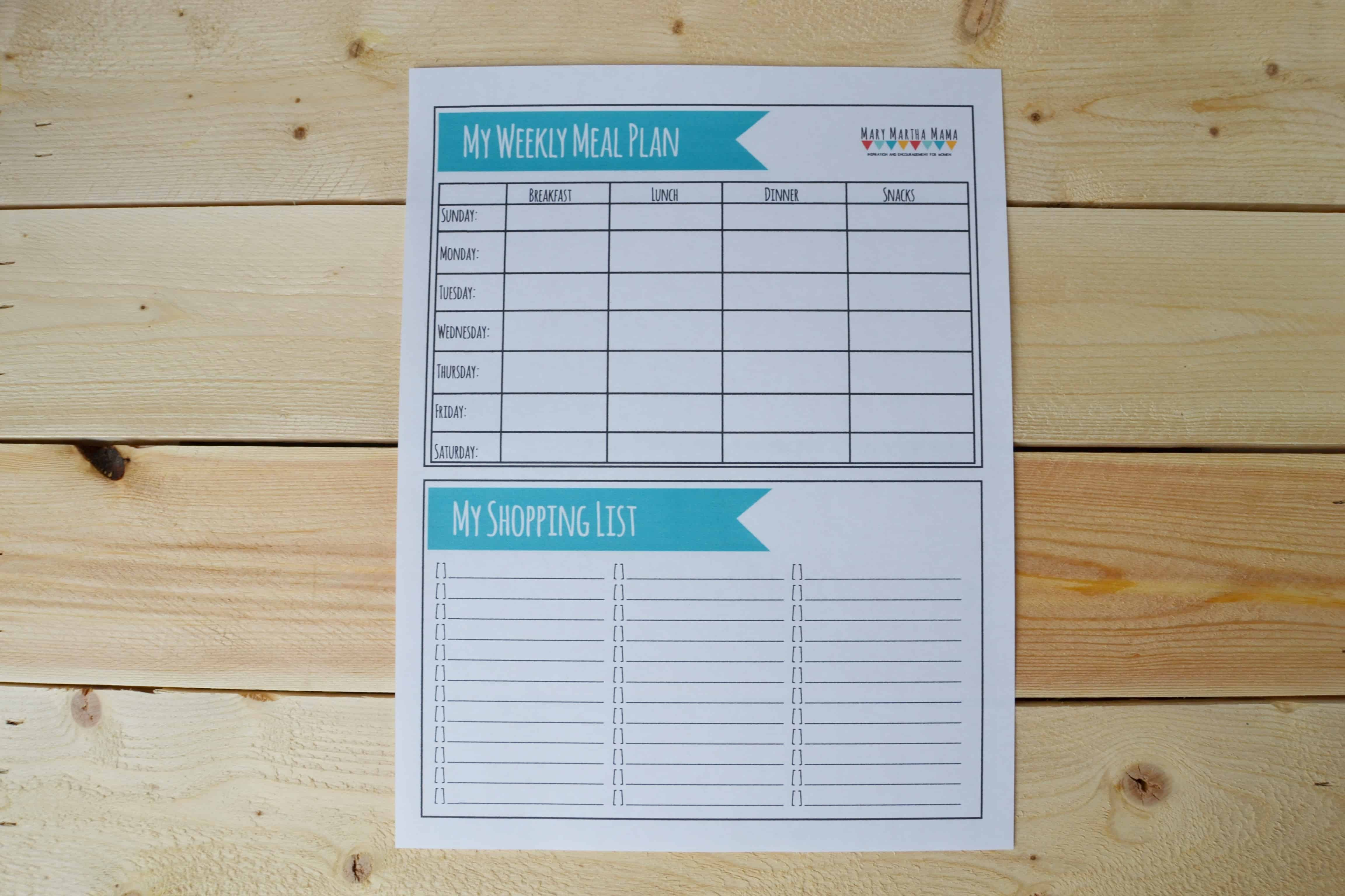 Printable Meal Plan Worksheet Mary Martha Mama