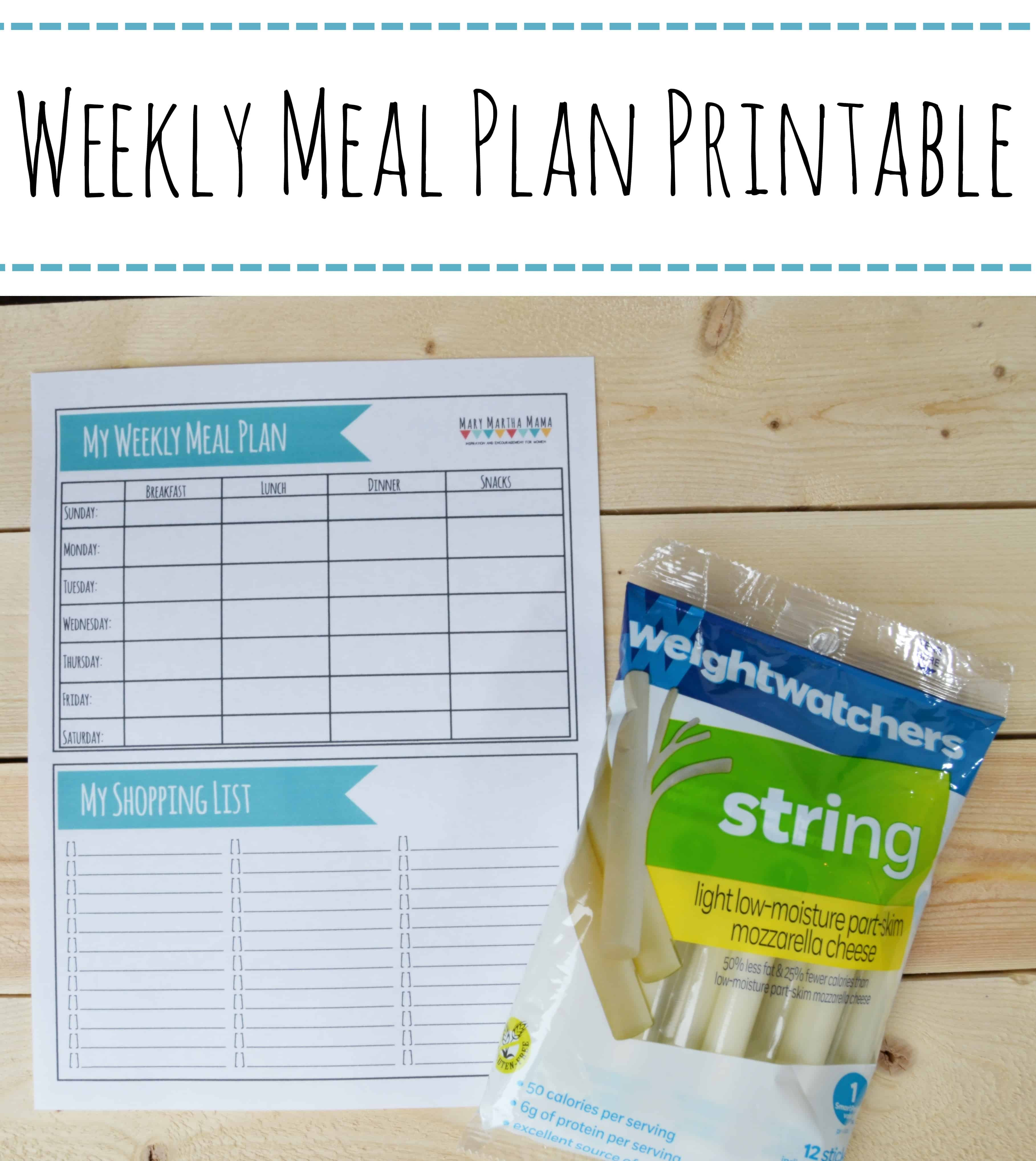 Printable Meal Plan Worksheet Mary Martha Mama