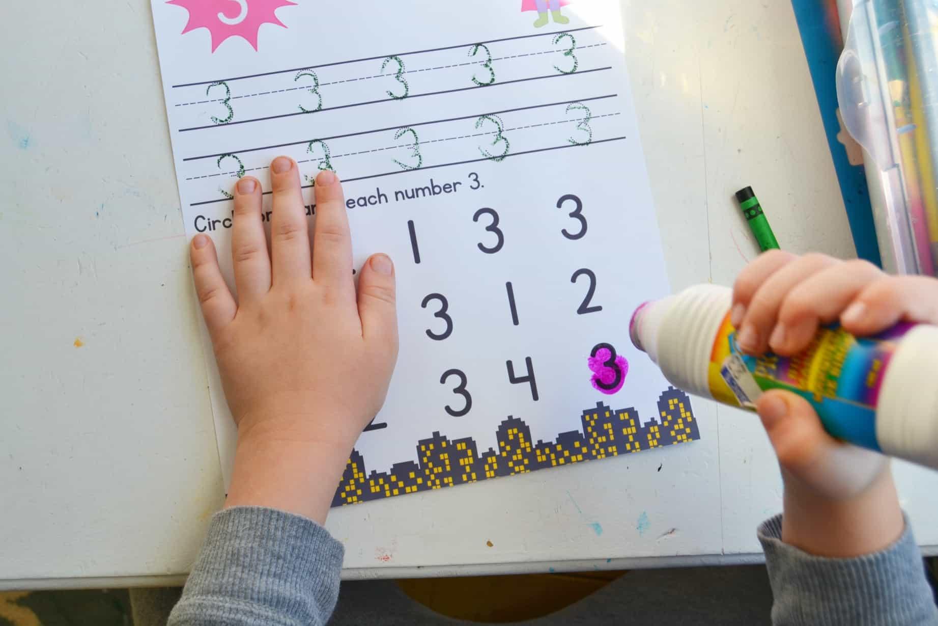 Super Hero Preschool Number Worksheets Numbers 1 10 Mary Martha Mama