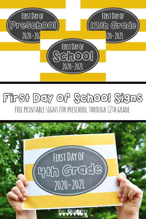 small resolution of Free Printable First Day of School Signs 2020 – Mary Martha Mama