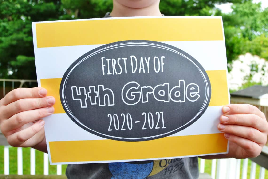 hight resolution of Free Printable First Day of School Signs 2020 – Mary Martha Mama