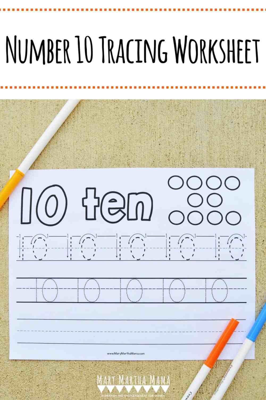 medium resolution of Number 10 Tracing Worksheet – Mary Martha Mama