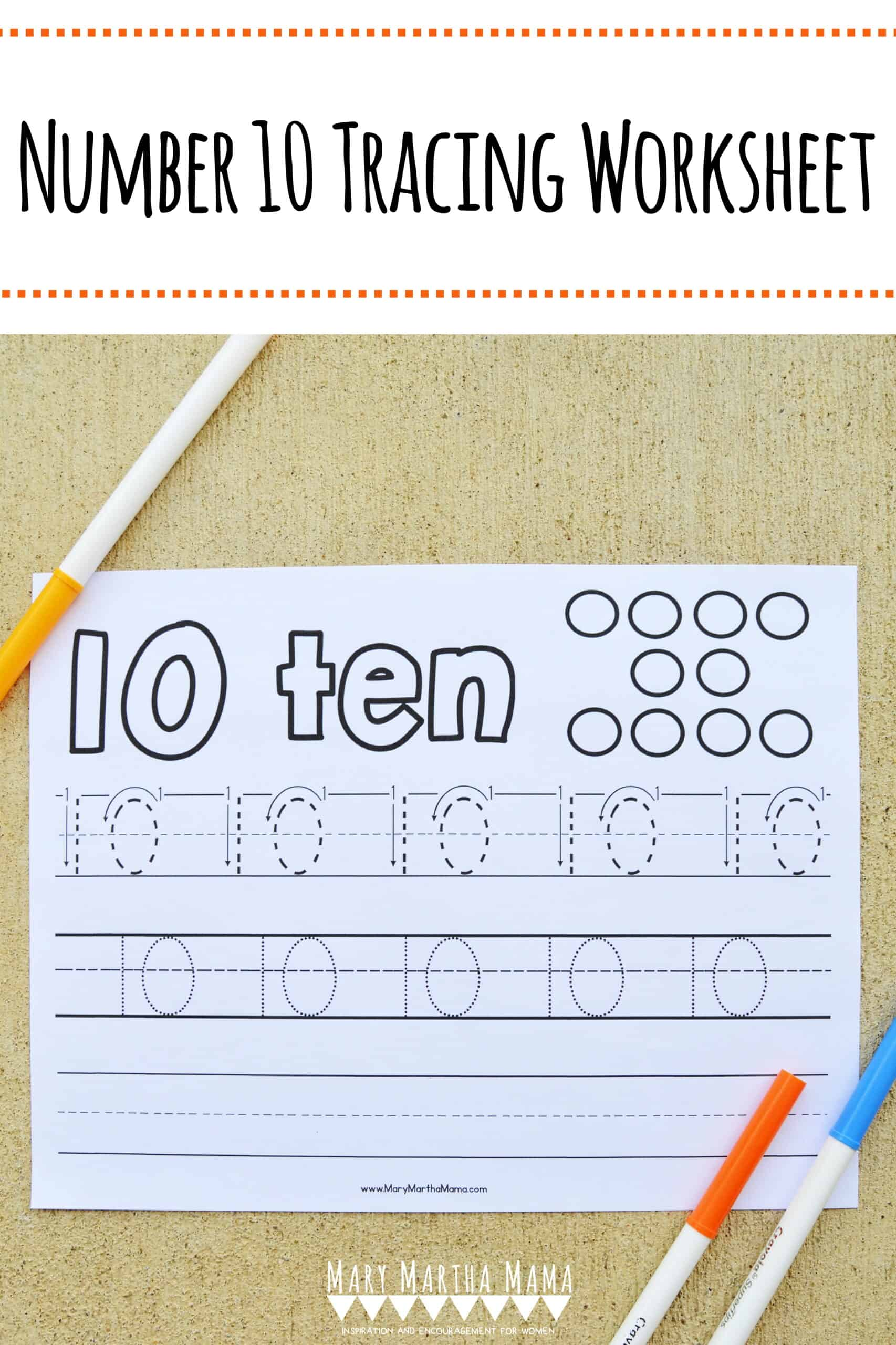 hight resolution of Number 10 Tracing Worksheet – Mary Martha Mama