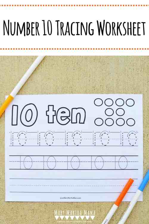 small resolution of Number 10 Tracing Worksheet – Mary Martha Mama