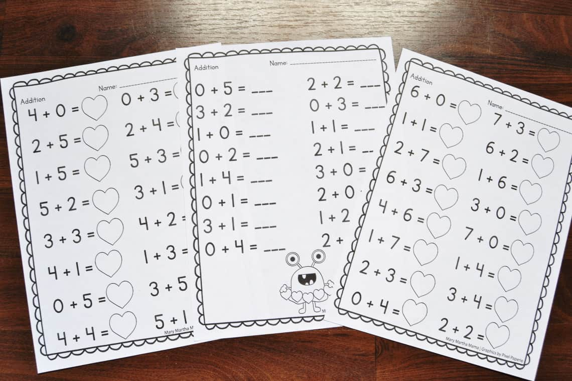 hight resolution of Valentine's Day Math Worksheets for Kindergarten – Mary Martha Mama