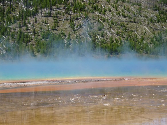 Blue steam rising from prismatic pool