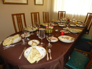 Dining room table waiting for participants