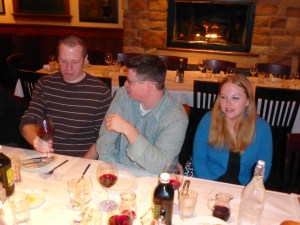 Andy, Mike and Becca at the rehearsal dinner