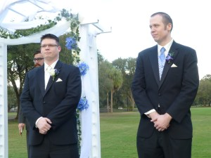 Mike and best man, Andy, await the bride