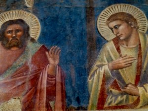 Two of the apostles at the Last Supper surviving from this 1380 fresco