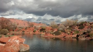 Stormy skies over the pond