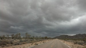 Stormy skies at we enter the Mojave Desert Preserve