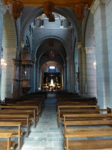 Cathedral interior -the Romanesque structure shows in the massive columns and small windows