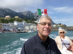 John on the boat for the sail around Capri