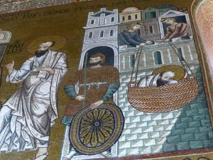 St. Paul being smuggled out of Damascus in a basket