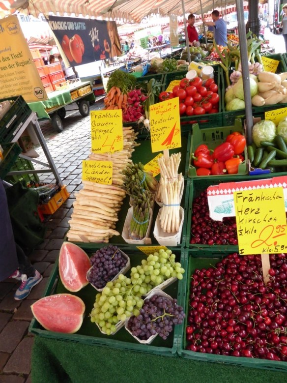 Vegetables and berries at the market