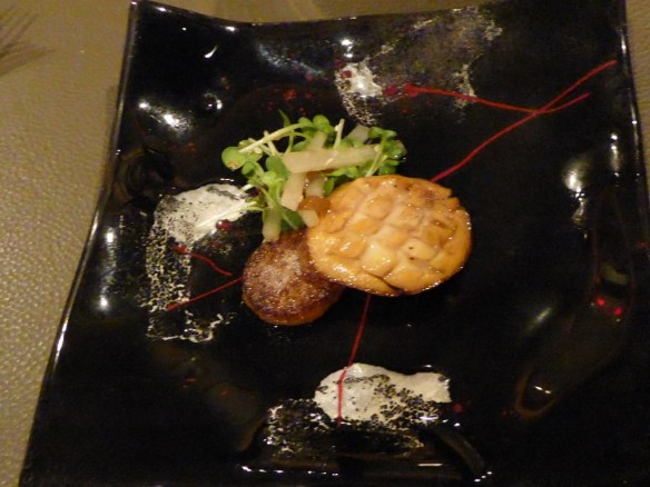 Third course - Our favorite of the night! Mendocino red abalone with daikon root and Konbu salad. The abalone and grilled daikon radish are delicious and the micro-salad has a touch of sesame seeds which really makes the dish. This is paired with an off-dry 2011 Mosel Riesling.