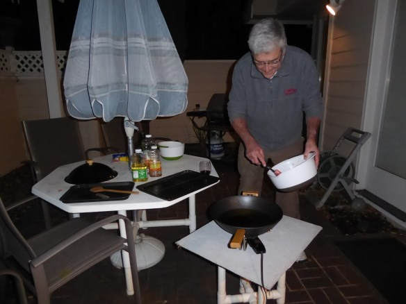 John with his fry station set-up (outside!)