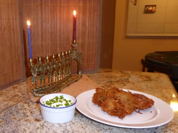 First night candles and latkes