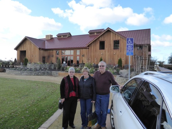 Mary, Karen, and George in front of Oak Farm Winery