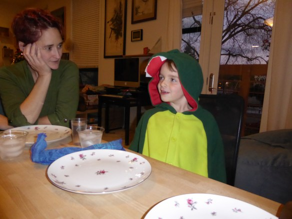 Sam in his new dragon pajamas with Auntie Leigh