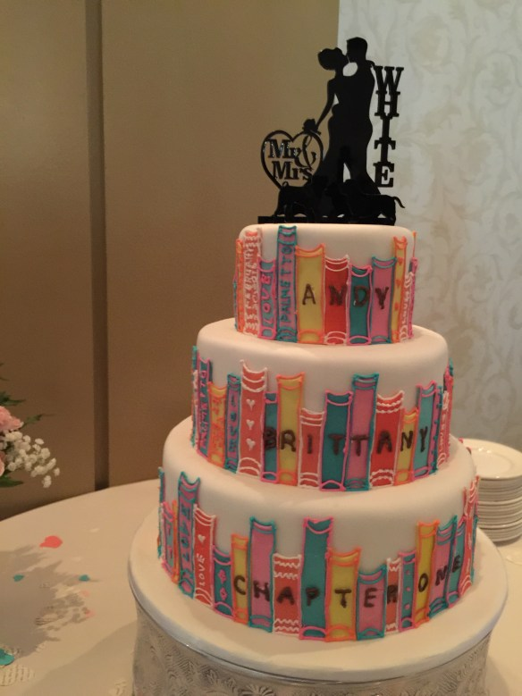Even the wedding cake is book themed