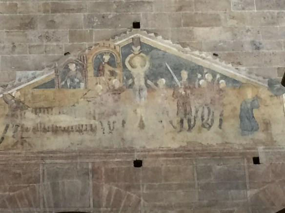 One of the few fragments of the frescoes that used to cover the walls