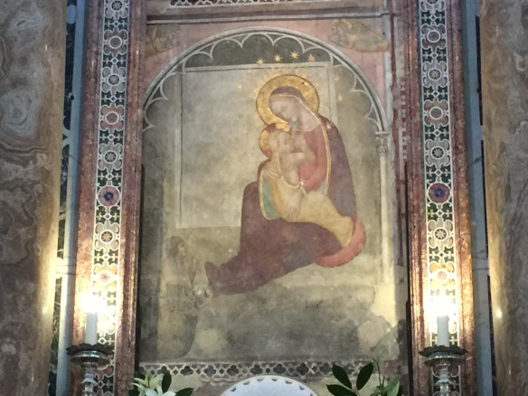 Madonna and Christ child sitting on the floor