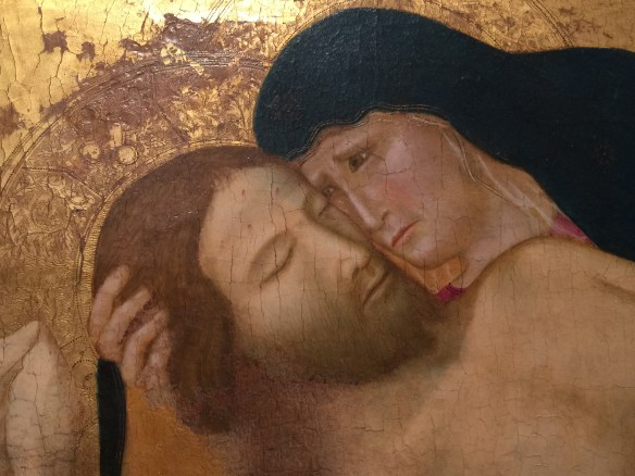 Close-up of the grief-stricken Mary with Jesus