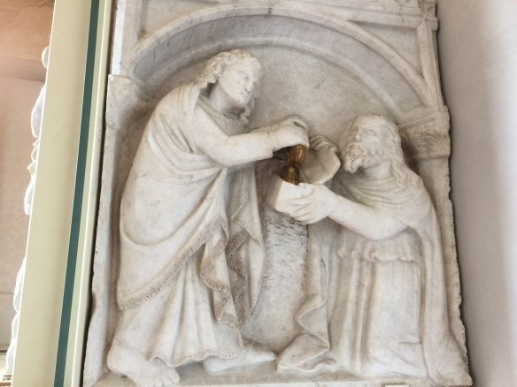 Girdle is given to the duomo in Prato (panel from outdoor pulpit)