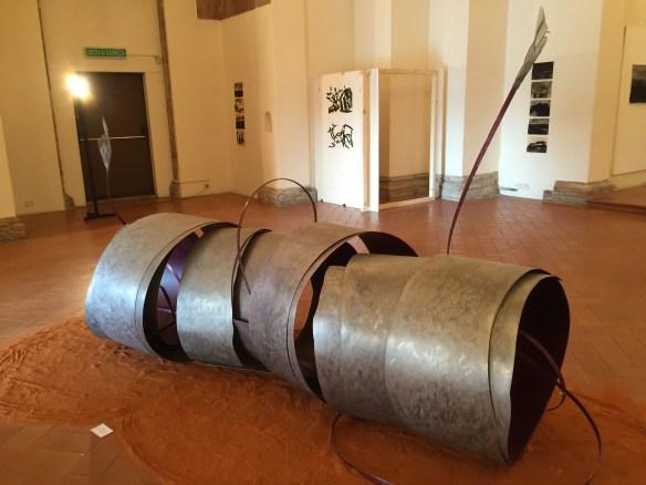 A piece of modern art called Trachea at the San Sebastian Oratorio