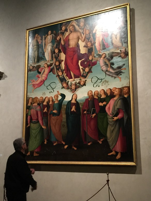 John viewing Perugino's Resurrection