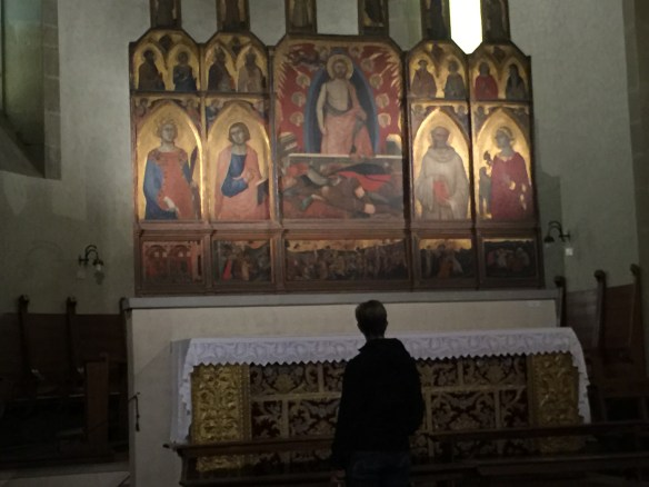 Sarah in front of a 14th century altarpiece